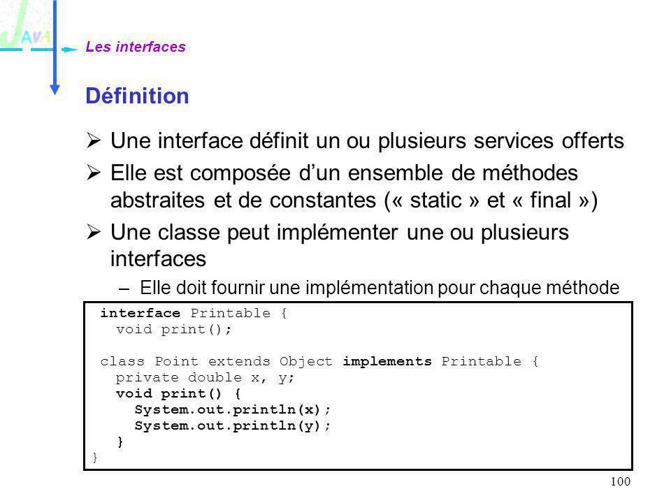 Une interface définit un ou plusieurs services offerts