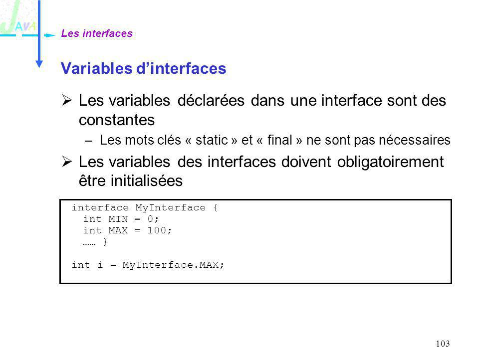 Variables d'interfaces