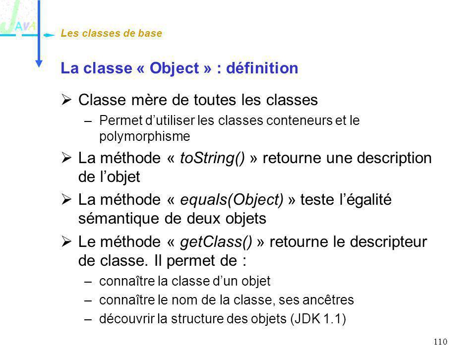 La classe « Object » : définition