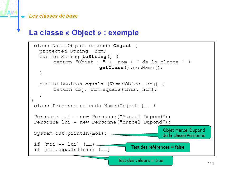 La classe « Object » : exemple