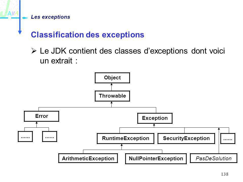 Classification des exceptions