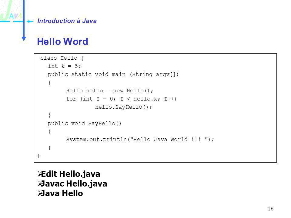 Introduction à Java Hello Word Edit Hello.java Javac Hello.java