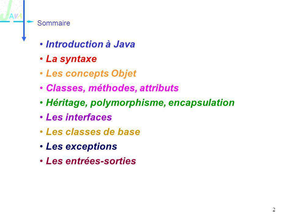 Classes, méthodes, attributs