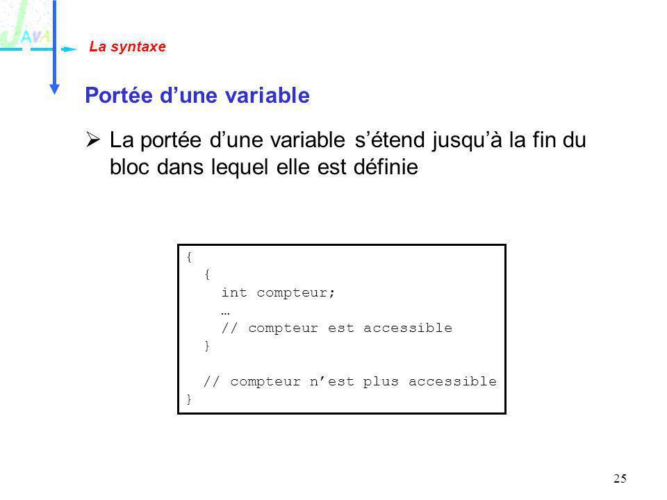 La syntaxe Portée d'une variable. La portée d'une variable s'étend jusqu'à la fin du bloc dans lequel elle est définie.