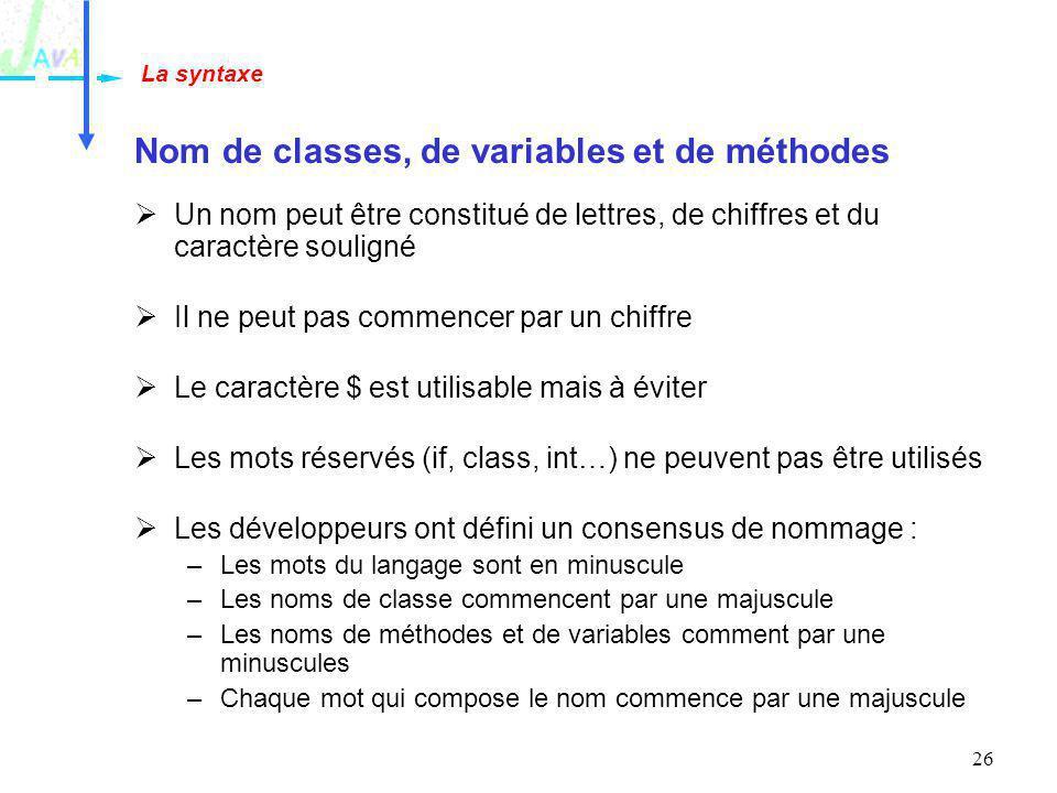 Nom de classes, de variables et de méthodes