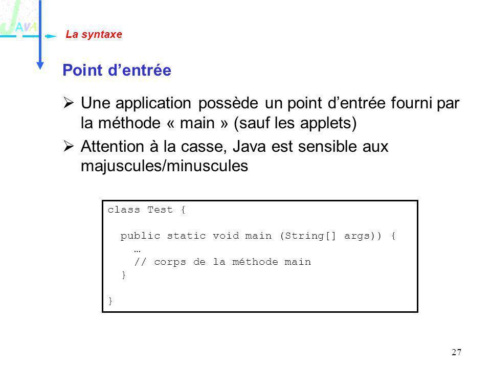 Attention à la casse, Java est sensible aux majuscules/minuscules