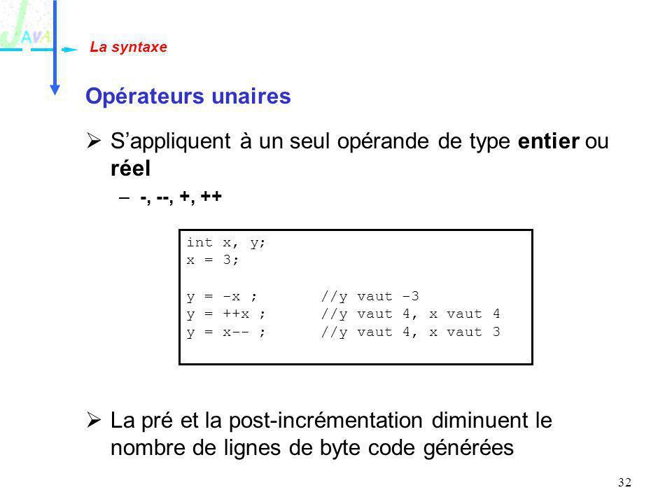 S'appliquent à un seul opérande de type entier ou réel