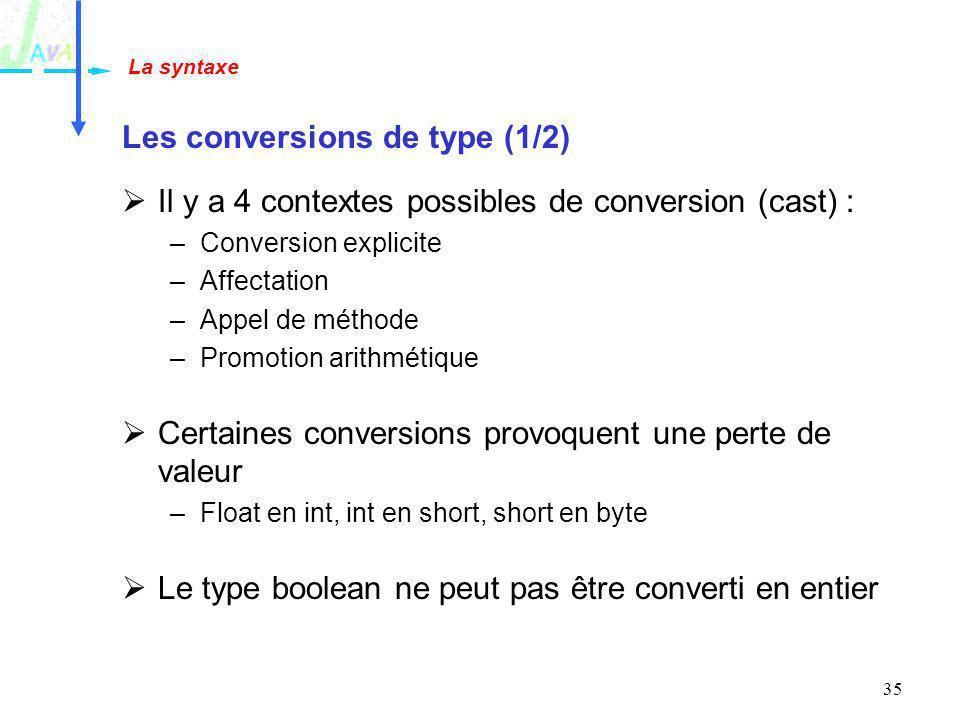 Les conversions de type (1/2)