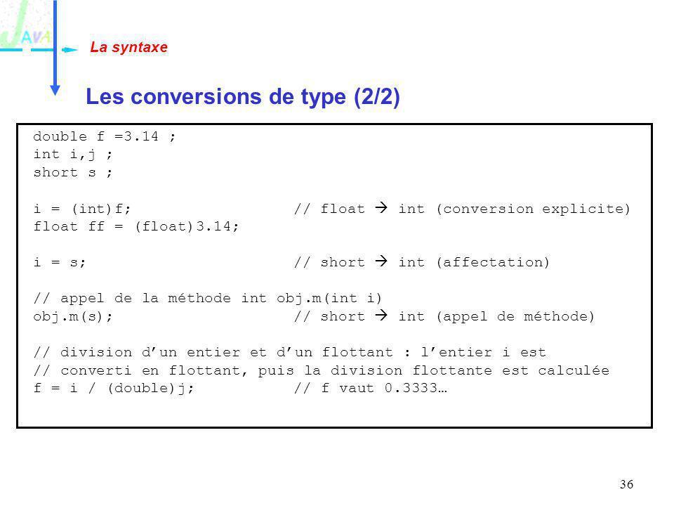 Les conversions de type (2/2)