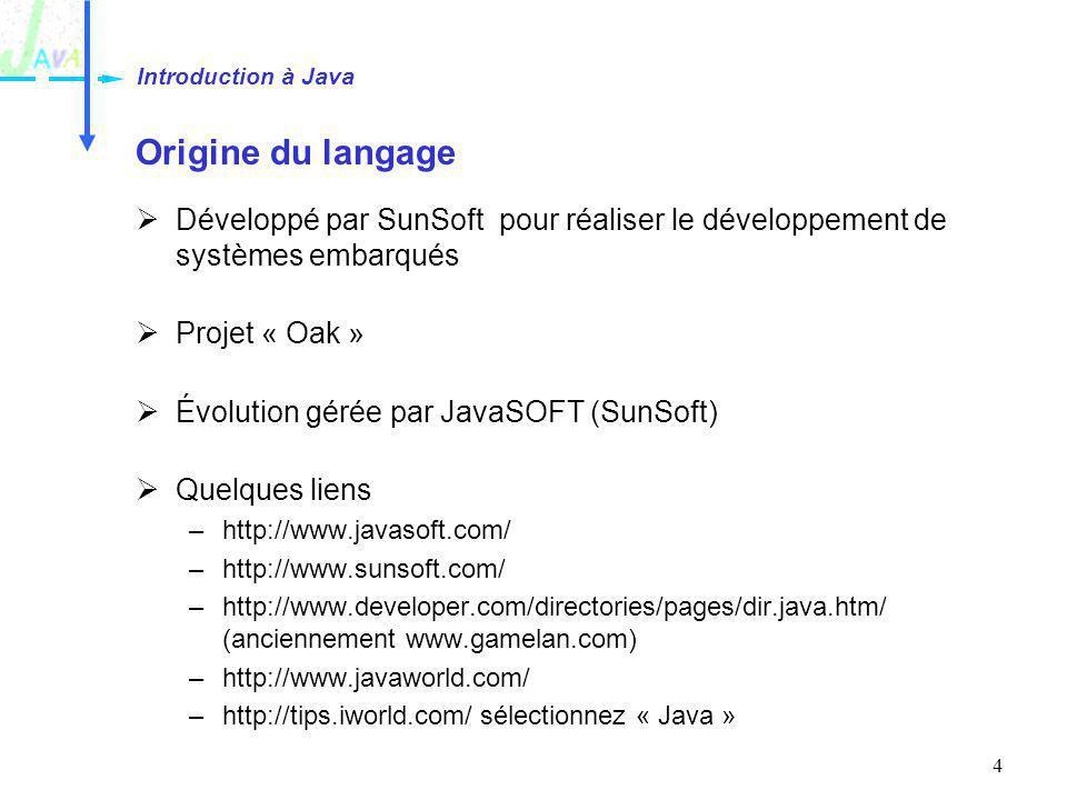 Introduction à Java Origine du langage