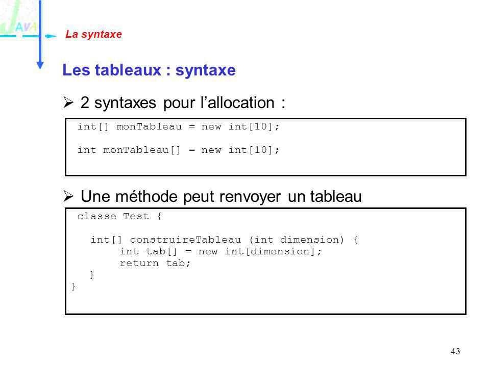 2 syntaxes pour l'allocation :