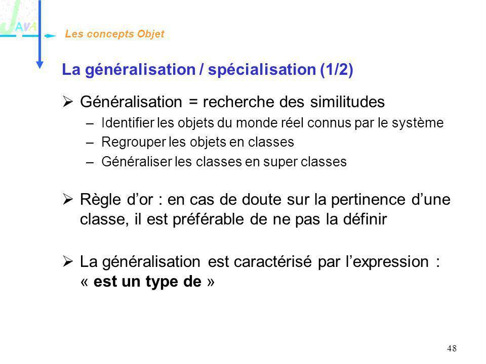 La généralisation / spécialisation (1/2)