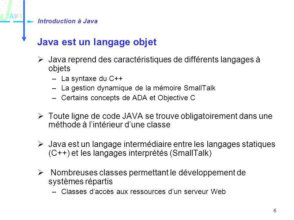 Java est un langage objet