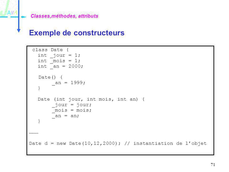 Exemple de constructeurs