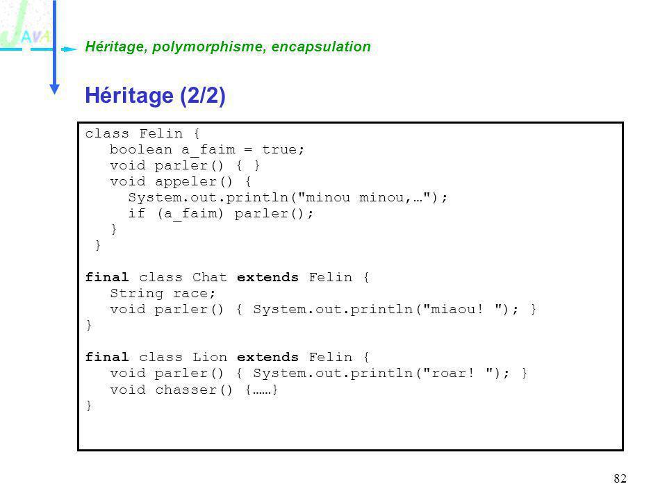 Héritage (2/2) Héritage, polymorphisme, encapsulation class Felin {