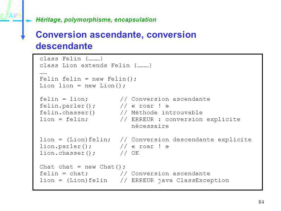 Conversion ascendante, conversion descendante