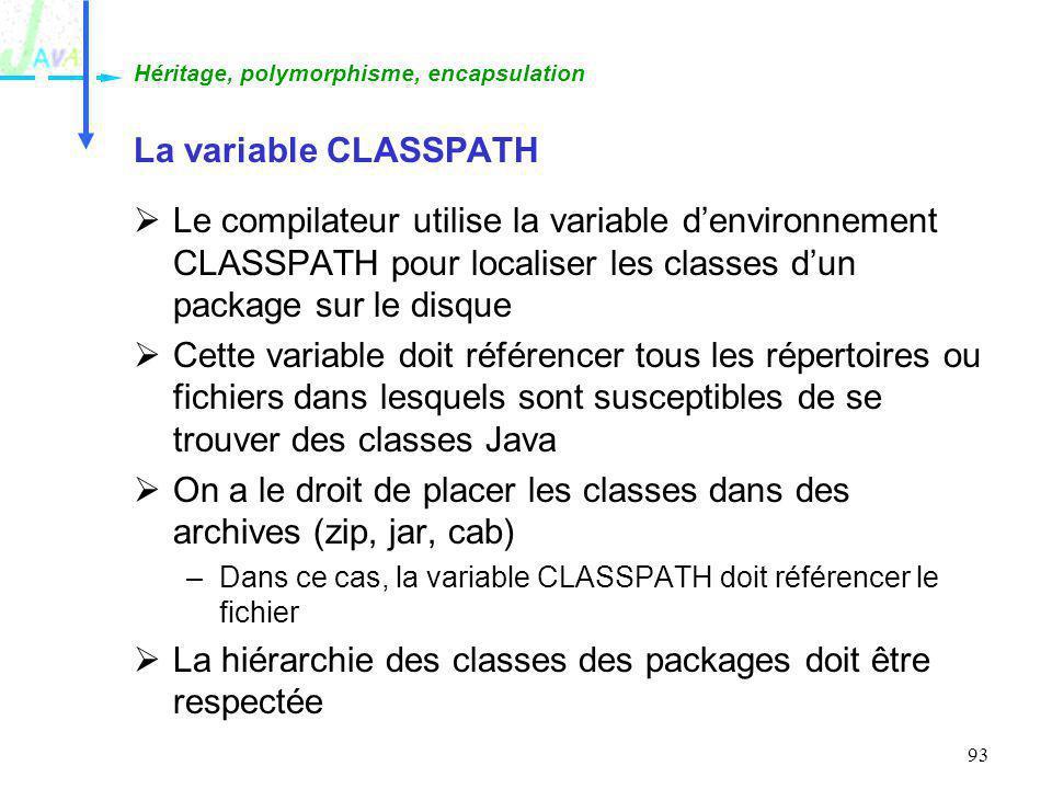 On a le droit de placer les classes dans des archives (zip, jar, cab)