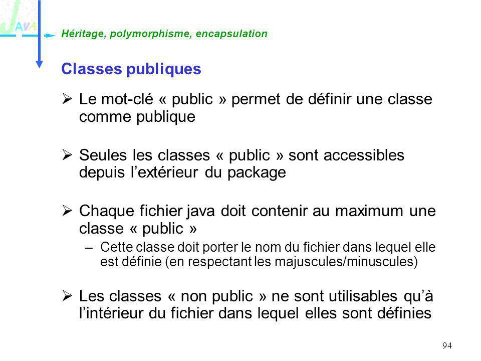 Le mot-clé « public » permet de définir une classe comme publique
