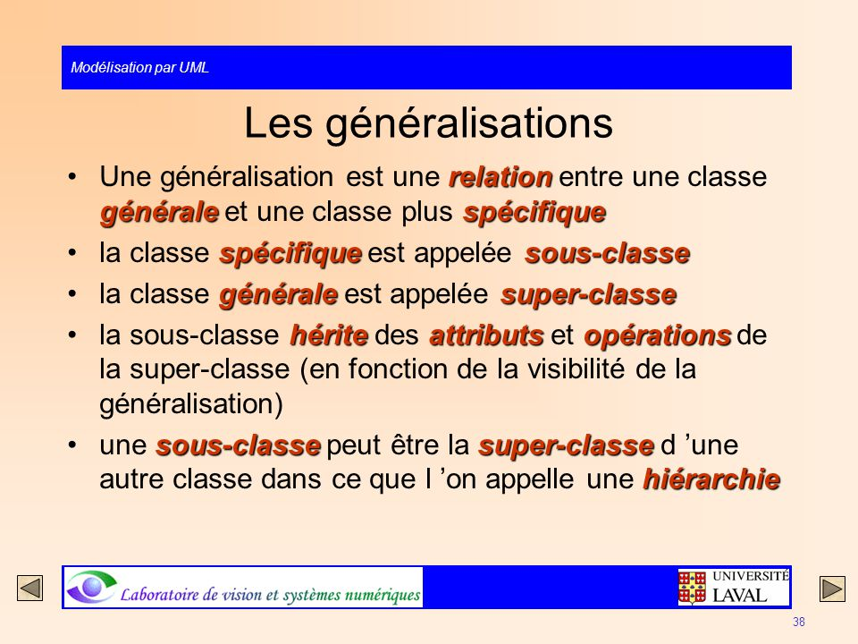 Les généralisations Une généralisation est une relation entre une classe générale et une classe plus spécifique.