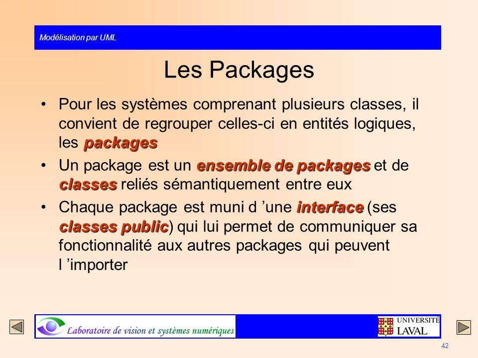 Les Packages Pour les systèmes comprenant plusieurs classes, il convient de regrouper celles-ci en entités logiques, les packages.