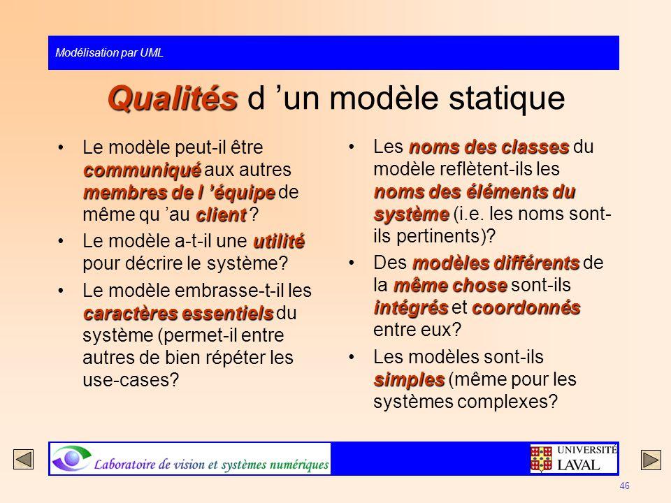 Qualités d 'un modèle statique
