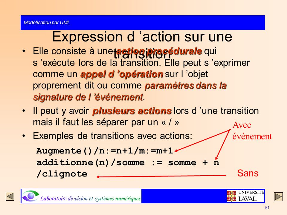 Expression d 'action sur une transition