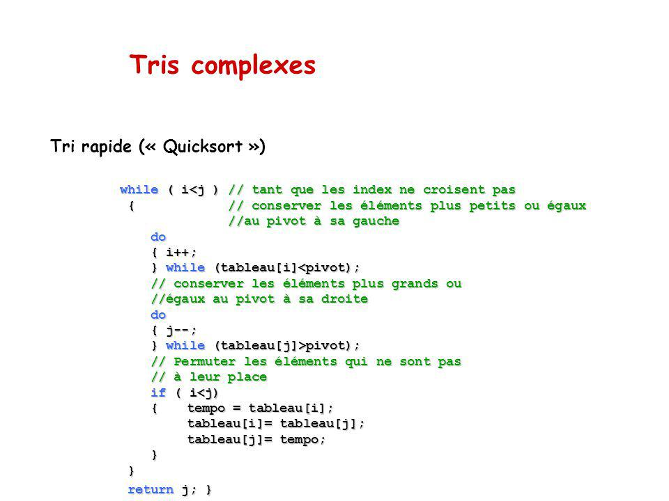 Tris complexes Tri rapide (« Quicksort »)