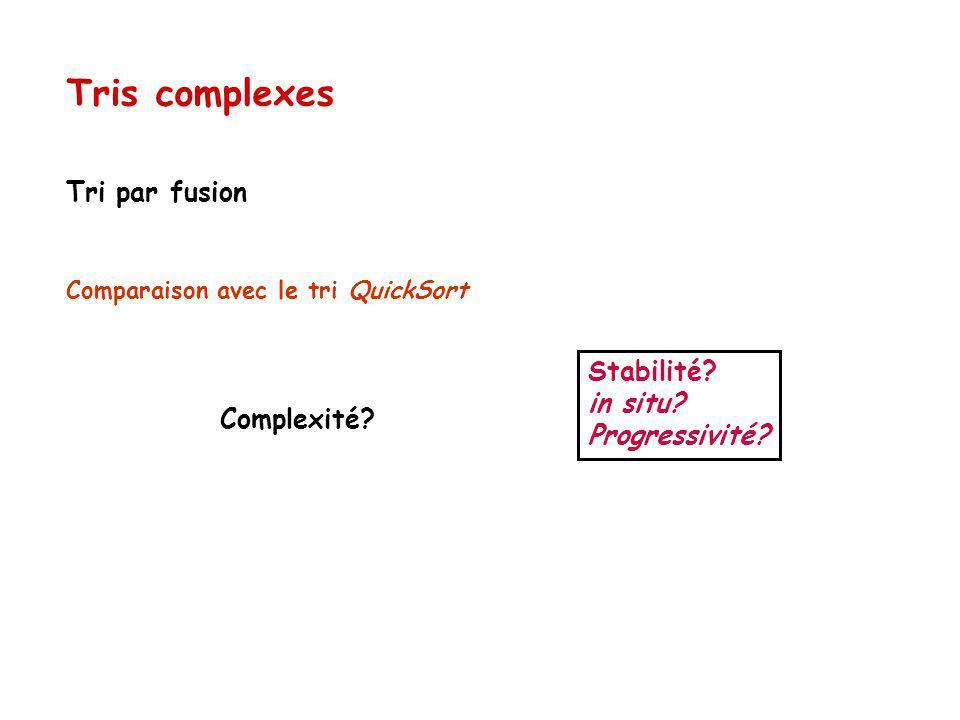Tris complexes Tri par fusion Stabilité in situ Progressivité