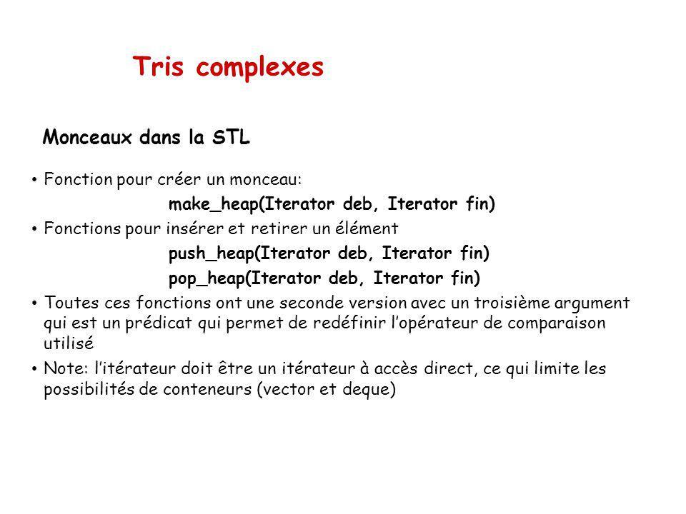 Tris complexes Monceaux dans la STL Fonction pour créer un monceau: