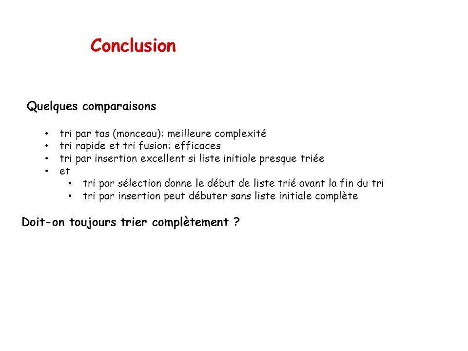 Conclusion Quelques comparaisons Doit-on toujours trier complètement
