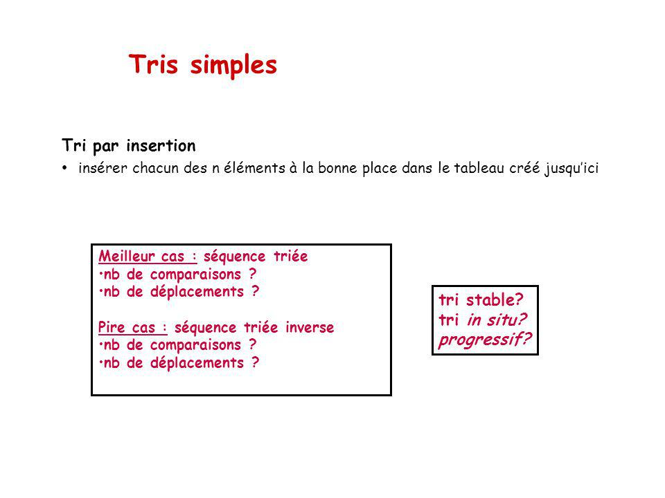 Tris simples Tri par insertion