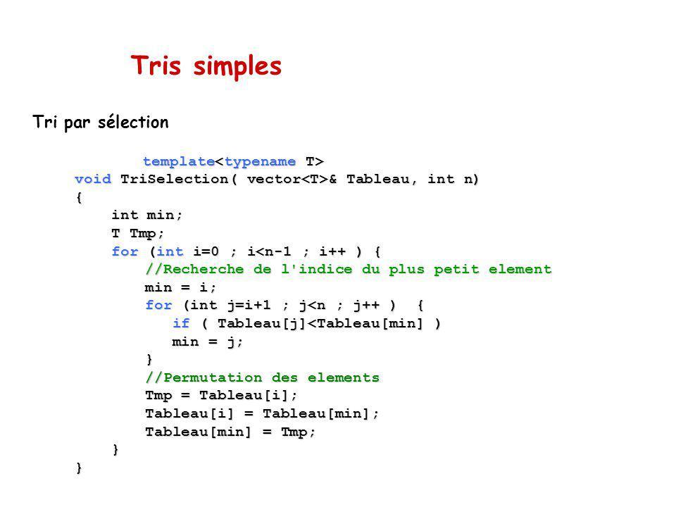 Tris simples Tri par sélection template<typename T>
