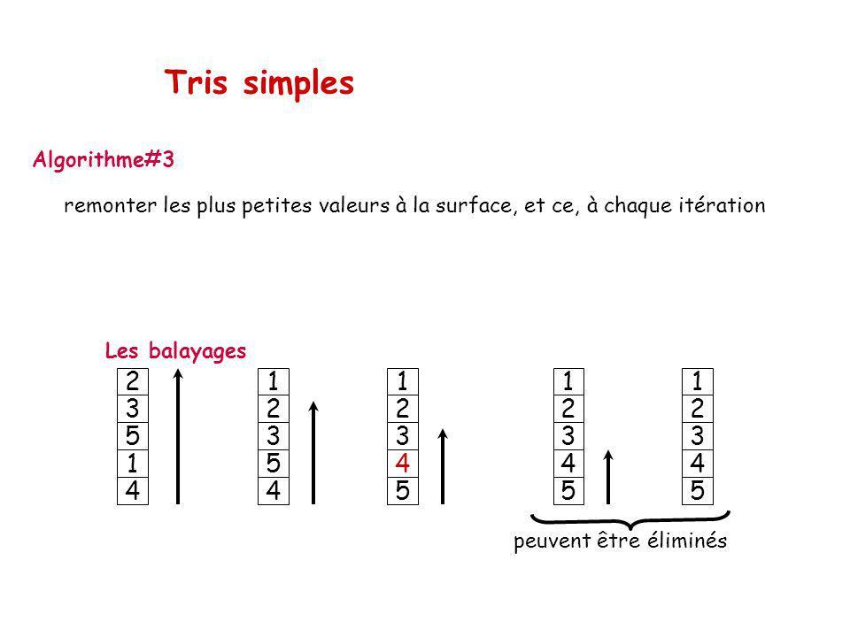 Tris simples Algorithme#3 remonter les plus petites valeurs à la surface, et ce, à chaque itération.