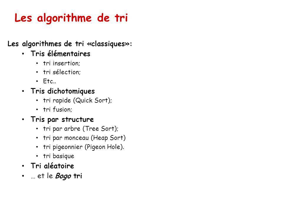 Les algorithme de tri Les algorithmes de tri «classiques»: