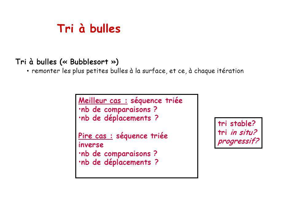 Tri à bulles Tri à bulles (« Bubblesort »)