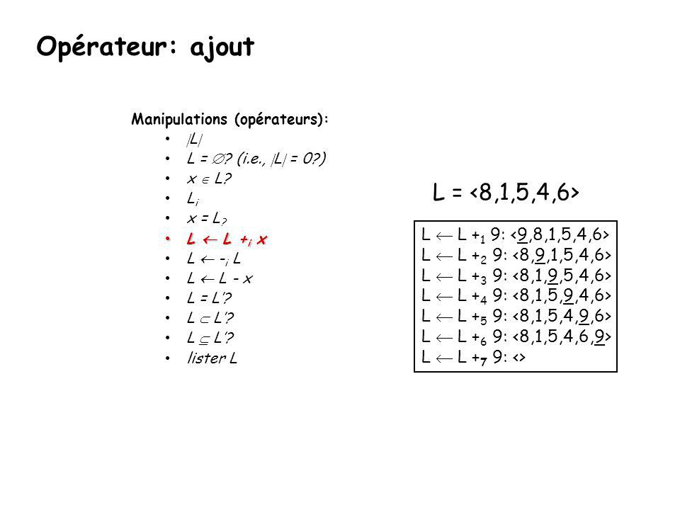 Opérateur: ajout L = <8,1,5,4,6> L  L +1 9: <9,8,1,5,4,6>