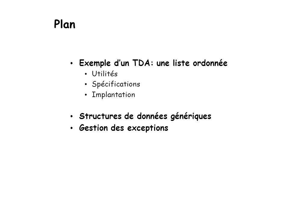 Plan Exemple d'un TDA: une liste ordonnée