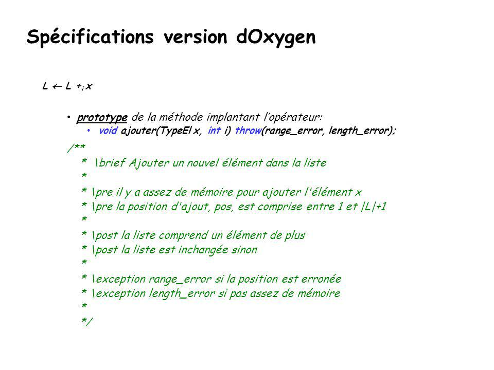 Spécifications version dOxygen