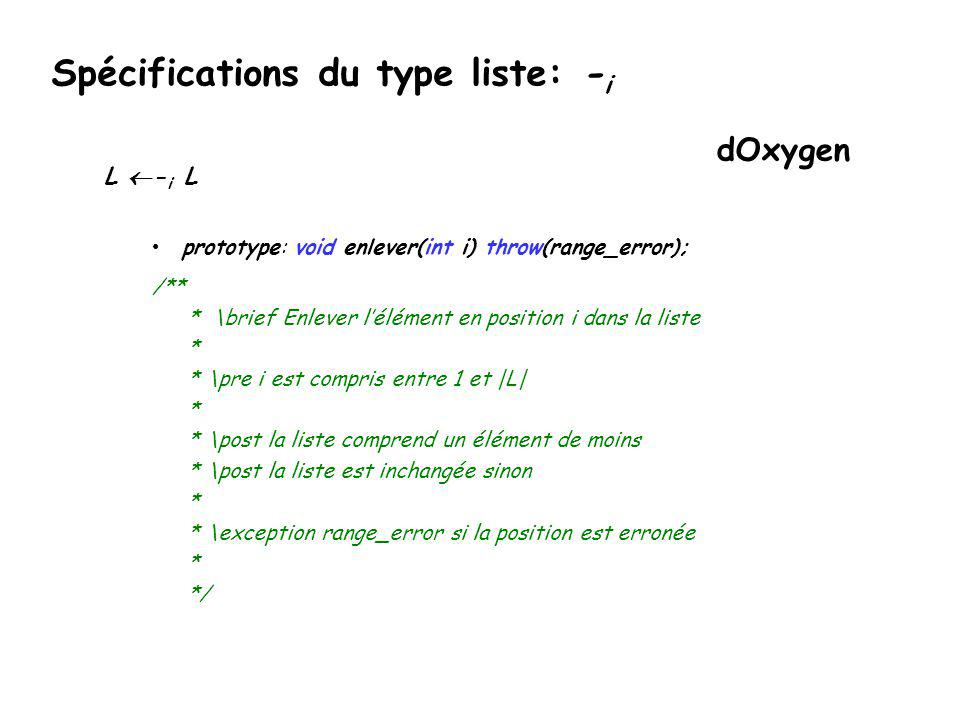 Spécifications du type liste: -i