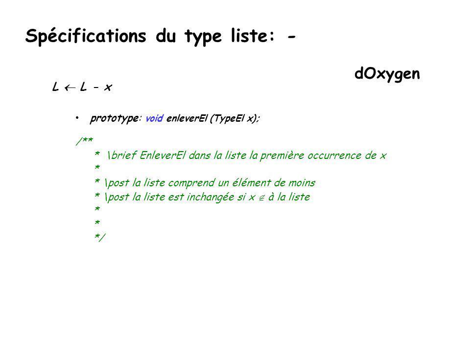 Spécifications du type liste: -