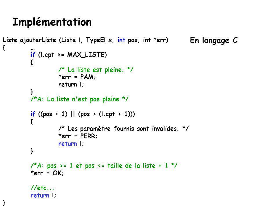Implémentation En langage C