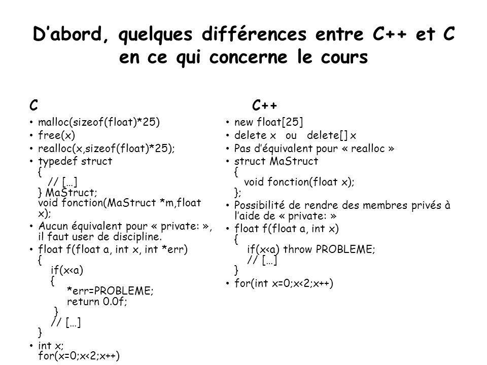 D'abord, quelques différences entre C++ et C en ce qui concerne le cours