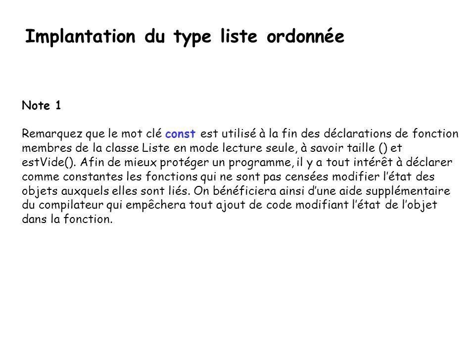 Implantation du type liste ordonnée