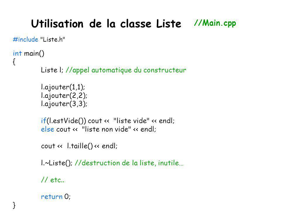Utilisation de la classe Liste