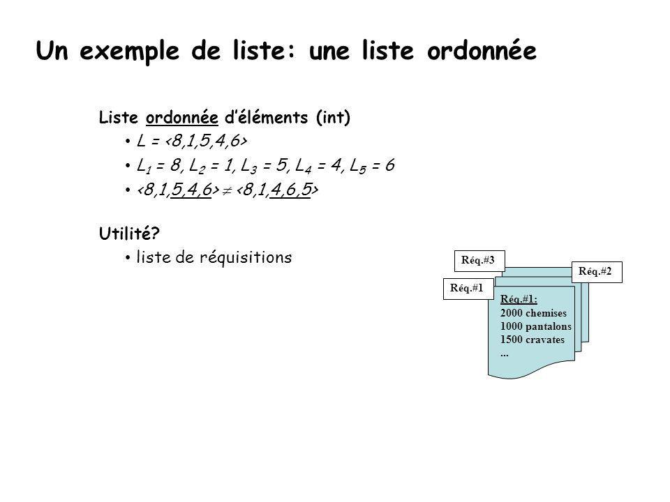 Un exemple de liste: une liste ordonnée