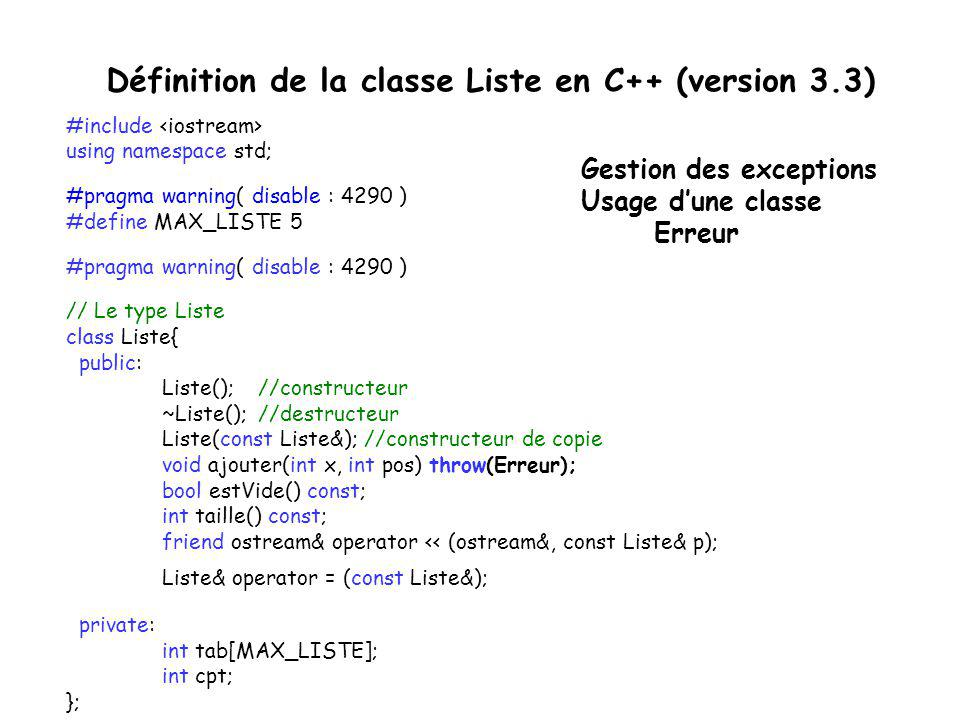 Définition de la classe Liste en C++ (version 3.3)