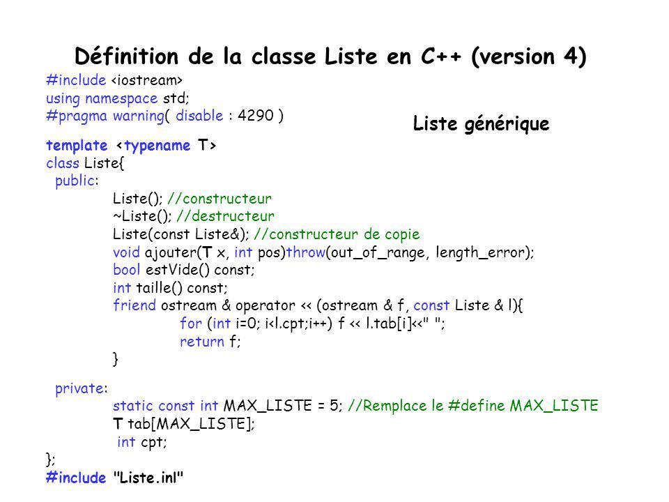 Définition de la classe Liste en C++ (version 4)