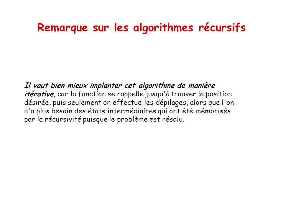 Remarque sur les algorithmes récursifs
