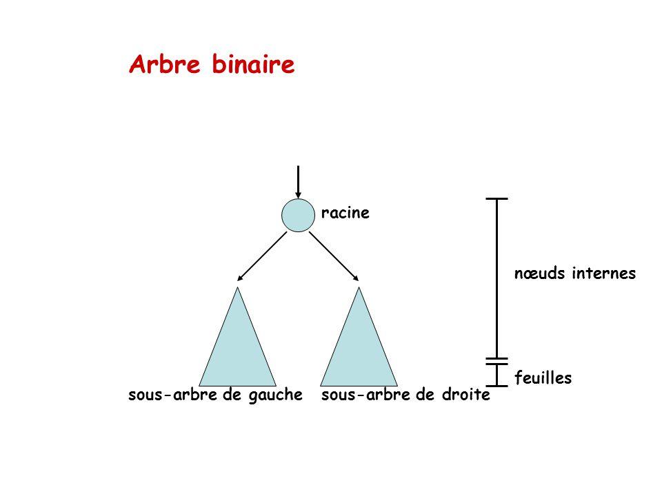 Arbre binaire racine nœuds internes feuilles sous-arbre de gauche