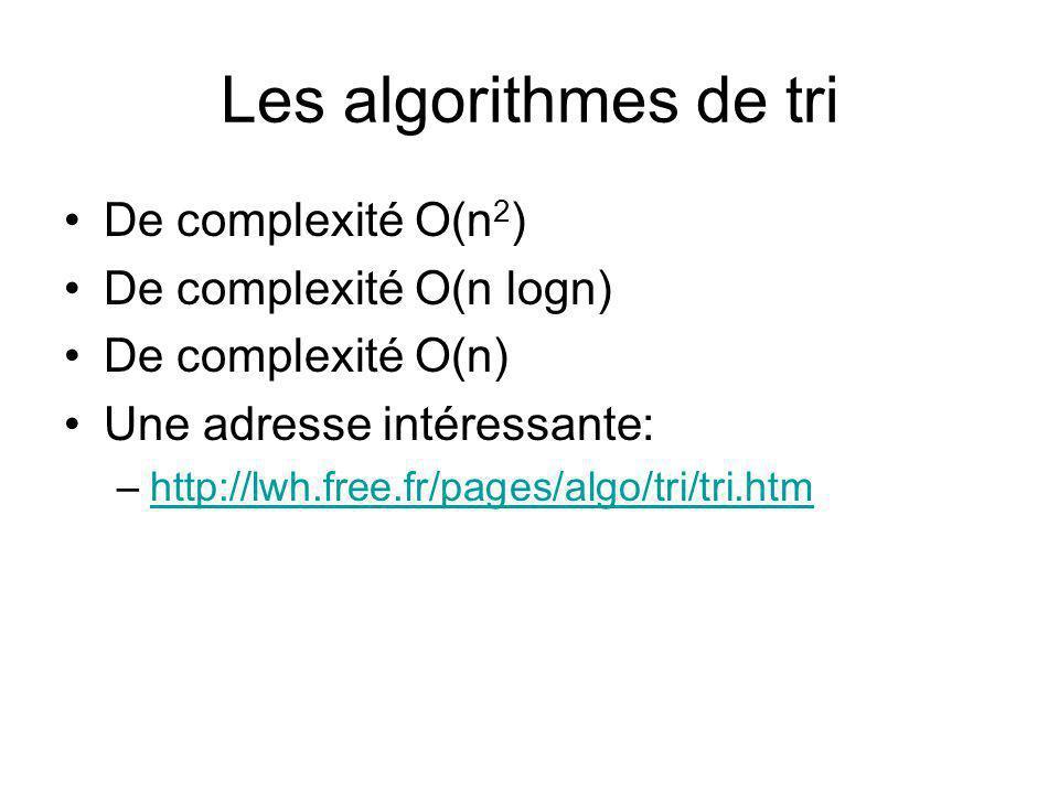 Les algorithmes de tri De complexité O(n2) De complexité O(n logn)